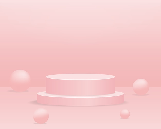 Empty cylinder podium on pink background. abstract minimal scene with geometric shape object. 3d