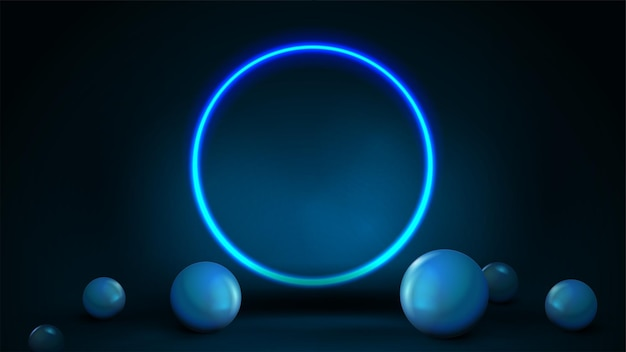 Empty dark and blue abstract scene with spheres on floor and neon blue shiny ring