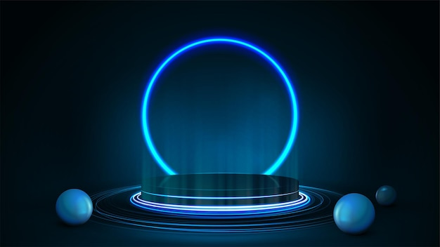 Empty dark podium with realistic spheres and neon ring on background