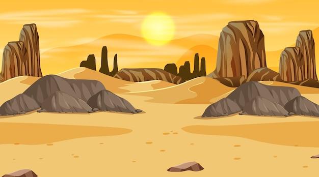 日没時のシーンで空の砂漠の森の風景 Premiumベクター