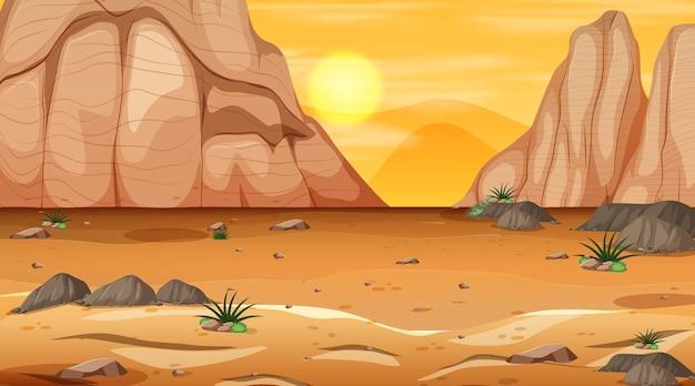 Empty desert forest landscape at sunset time scene
