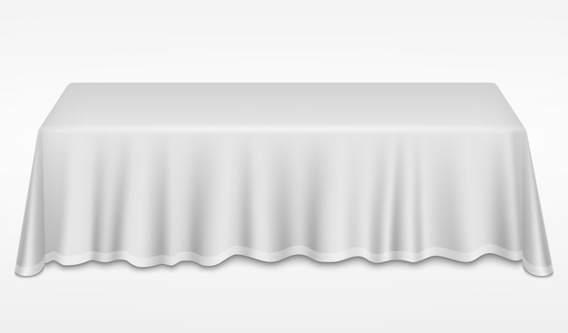 Empty dinner banquet table with white cloth 3d realistic desk