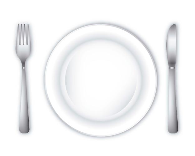 Empty dinner plate over white background vector illustration