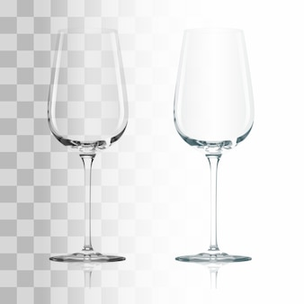 Empty drinking transparent wine glass