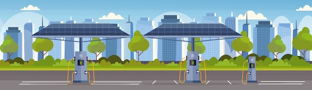 Empty electrical charge station with solar panels renewable eco friendly transport environment care concept  modern cityscape background horizontal