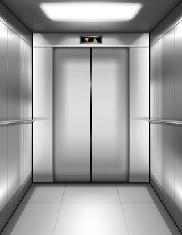 Empty elevator cabin with closed doors inside