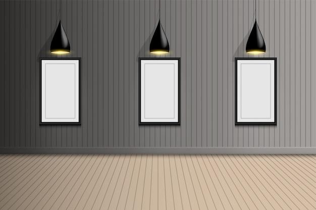Пустая комната фотогалереи выставки с потолочной лампочкой, дизайн интерьера
