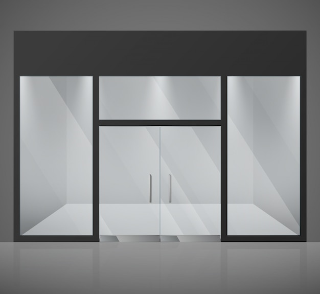 Empty fashion store, shop with big glass window and entrance vector illustration