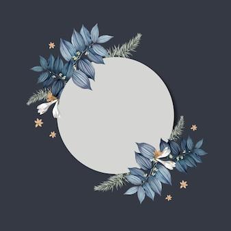 Empty floral invitation card design vector