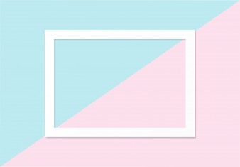Empty frame flat lay on blue and pink pastel background