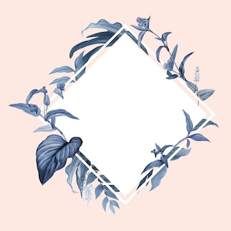 Empty frame with blue leaves design vector