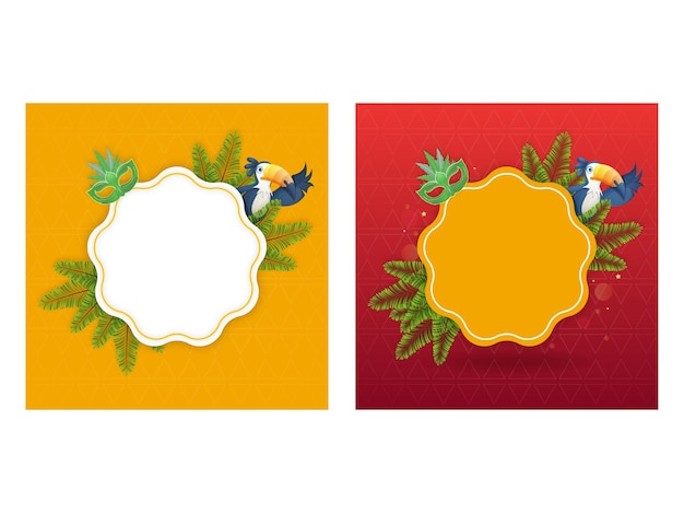 Empty frame with carnival mask, fir leaves and toucan bird