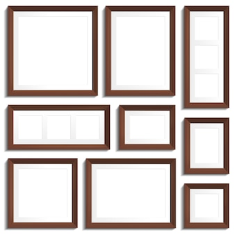 Empty frames of wenge wood in various standard formats. vector illustration  on white background.