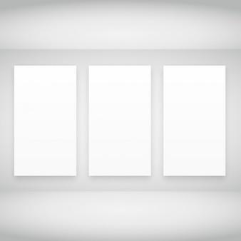Empty frames in white room