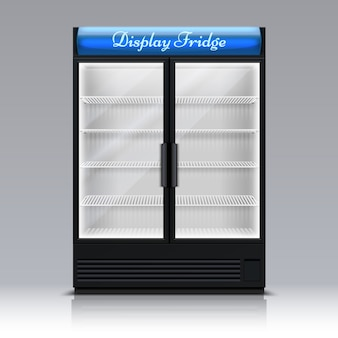 Empty freezer for beverages with glass door. supermarket food fridge 3d vector illustration. freezer and refrigerator for beverage drink supermarket