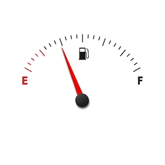 Empty fuel gauge meter