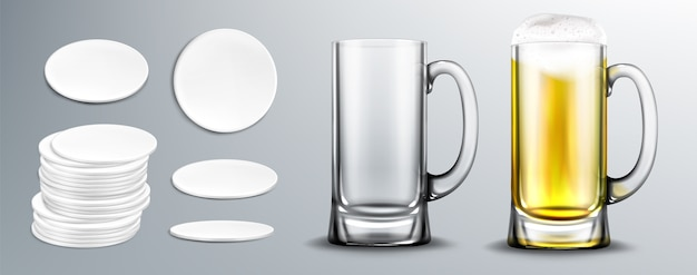 Empty and full of beer glass mug and white circle coasters in stack and top view. vector realistic beer with foam in clear mug and blank cardboard mats