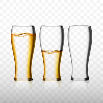 Empty and full beer glasses