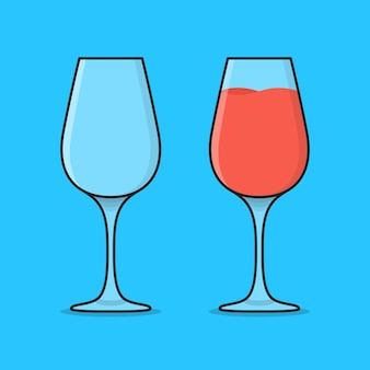 Empty and full cocktail glass  icon illustration. glasses with juice drinks flat icon
