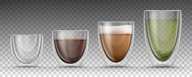 Empty and full cups of different sizes with hot drinks in realistic style