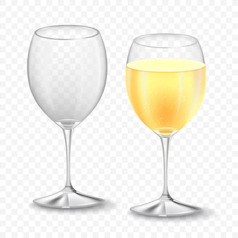 Empty and full wine glasses with champagne. realistic holiday concept  on transparent background. fizzing bubbles.  illustration.
