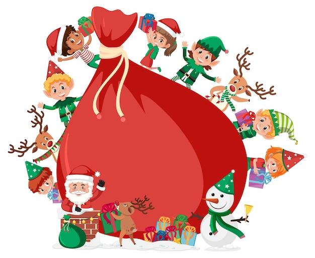 Пустой подарочный пакет со многими детьми в рождественской теме