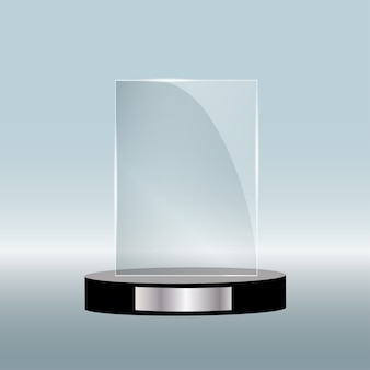 Empty glass award isolated, transparent trophy template.