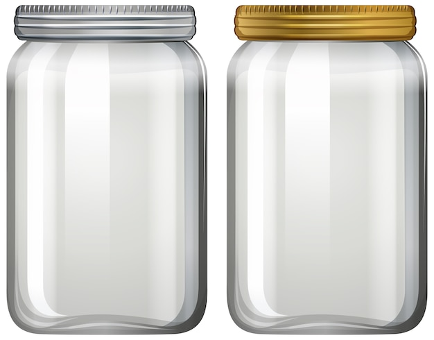 Empty glass jar on white background