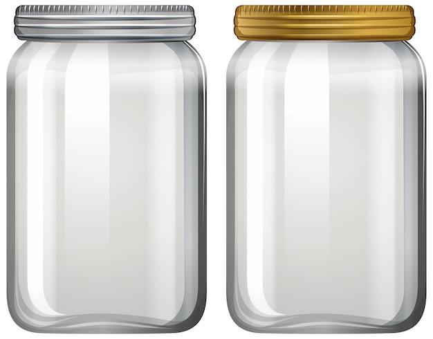 Empty glass jar on white