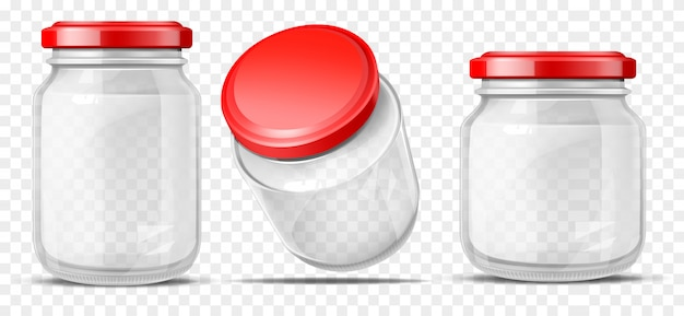 Empty glass jars for sauces realistic vector