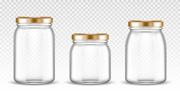 Empty glass jars with different shapes with gold lids isolated