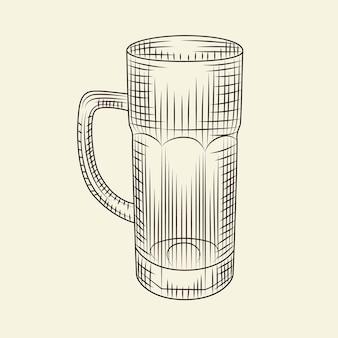 明るい背景に分離されたビールの空のガラス。スケッチスタイルの手描きのビールジョッキ。彫刻スタイル。メニュー、カード、ポスター、プリント、パッケージングに。ベクトルヴィンテージイラスト