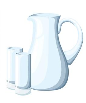 Пустой стеклянный кувшин и стаканы. прозрачная кухонная утварь. декоративные предметы быта. иллюстрация на белом фоне.