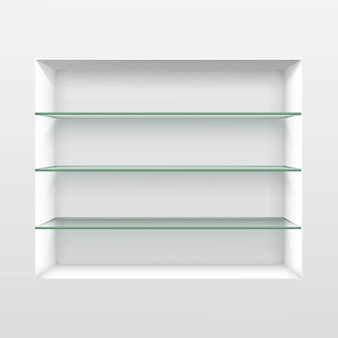 Empty glass shelf shelves isolated on wall
