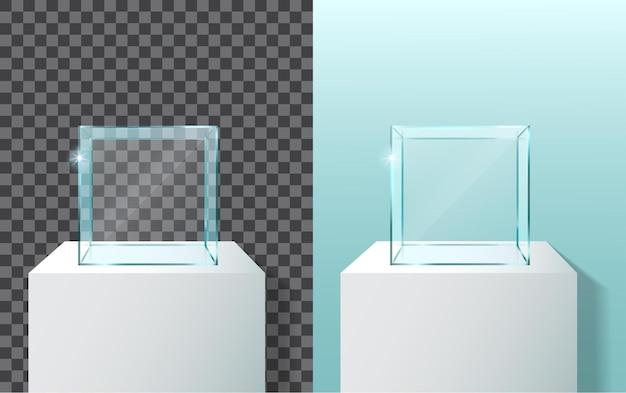 Empty glass showcase in cube form. 3d vector realistic glass square showcase.