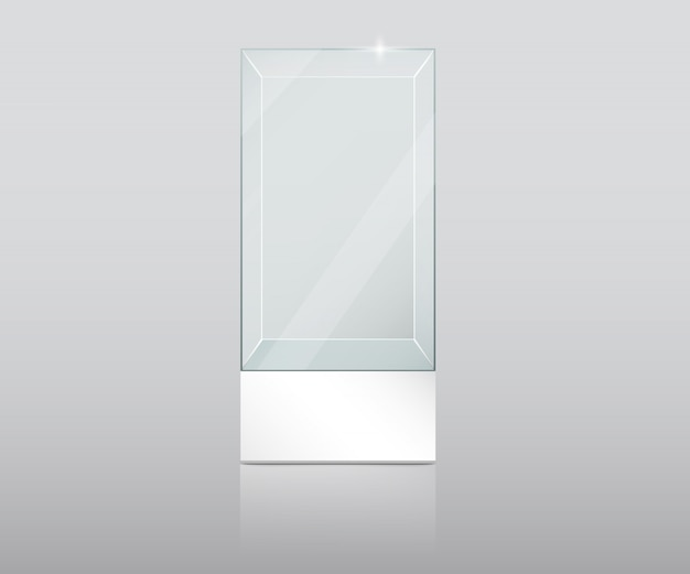 Empty glass showcase in cube form vector