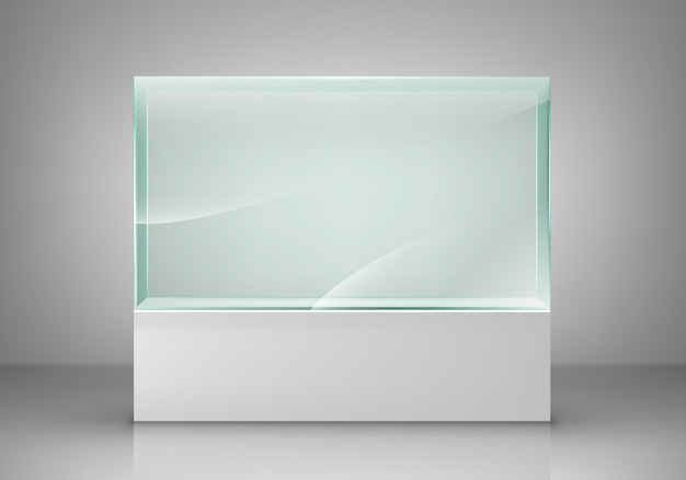 Empty glass showcase for exhibit. glass exhibition spot for presentation.  illustration