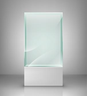 Empty glass showcase for exhibit. glass exhibition spot for presentation.