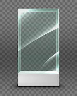 Empty glass showcase for exhibition.  illustration isolated on transparent background