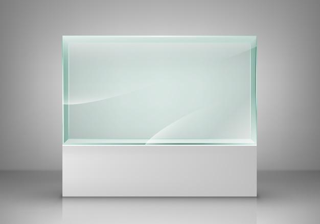Пустая стеклянная витрина для выставки. стеклянная выставочная площадка для презентации. иллюстрация