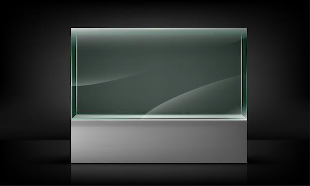 Пустая стеклянная витрина для презентации, изолированные на черном фоне. выставочное место для презентации стекла. иллюстрация