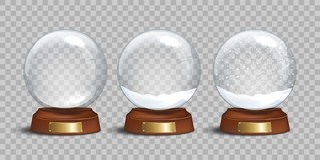 Empty glass snow globe and snow globes with snow on transparent background.