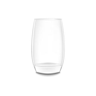 白で隔離の現実的な空のガラスの花瓶