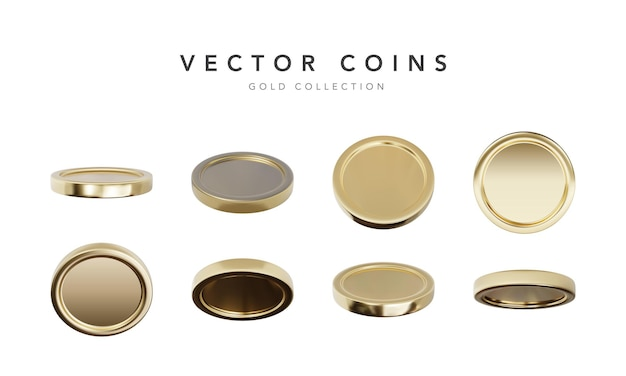 Empty  gold coins set isolated on white background in different positions.  illustration