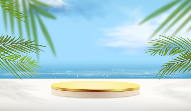 Empty gold pedestal with tropical plants for product display with ocean background.
