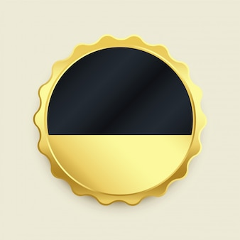 Empty golden badge label premium button