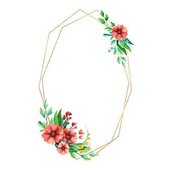 수채화 봄 꽃과 함께 빈 황금 기하학적 프레임