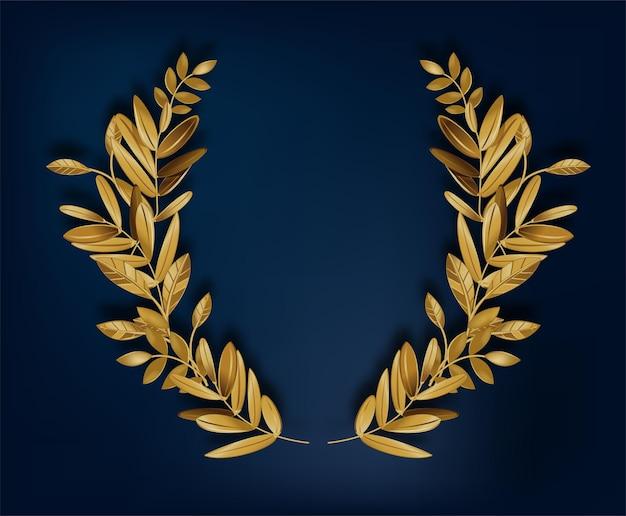 空の金色の月桂樹の花輪。お祝いやおめでとう、チャンピオンや勝利