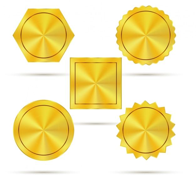 Empty golden metal badges