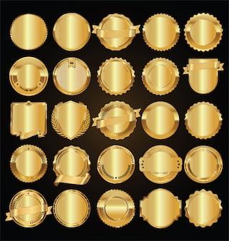 빈 황금 복고풍 레이블 및 배지 황금 벡터 컬렉션